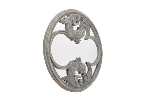 Homestore Roxborough Mindi Round Hand Carved Wooden Mirror