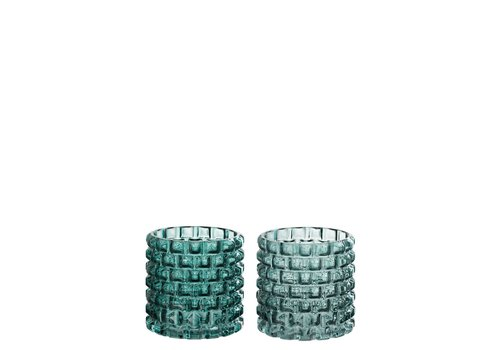 Homestore CANDLE HOLDER ROUND GLASS GREEN MIX