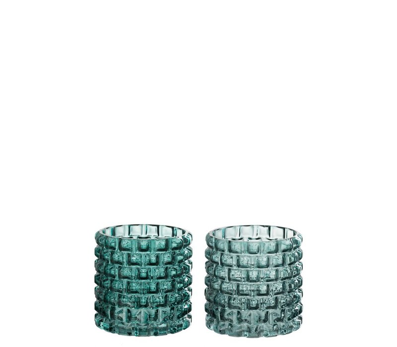 CANDLE HOLDER ROUND GLASS GREEN MIX