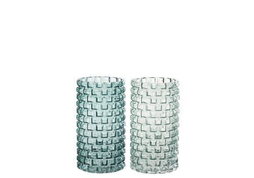 Homestore CANDLE HOLDER ROUND GLASS GREEN MIX (M)