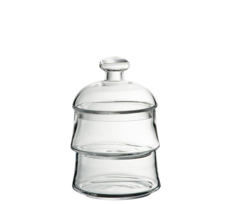 STORAGE JAR LID 2 LEVELS GLASS