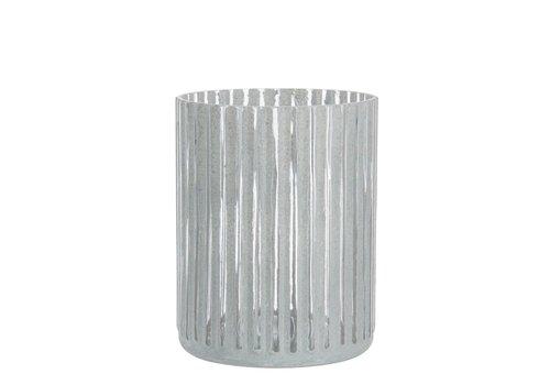 Homestore T-LIGHT HOLDER STRIPE GLASS GREY (L)
