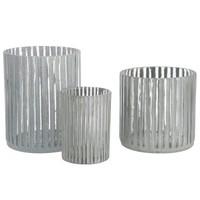T-LIGHT HOLDER STRIPE GLASS GREY (L)