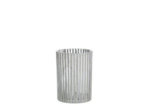 Homestore T-LIGHT HOLDER STRIPE GLASS GREY (S)