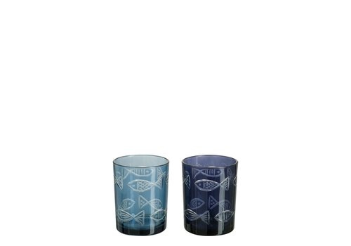 Homestore HURRICANE FISH GLASS ASSORTED BLUE (S)