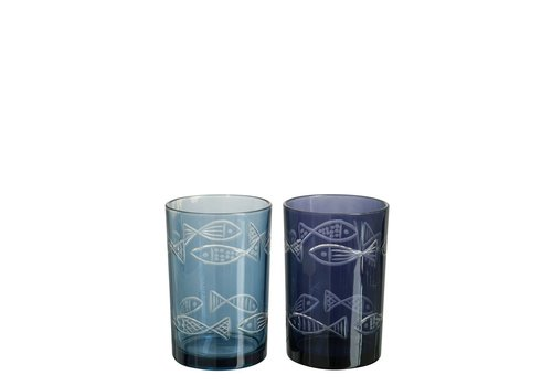 Homestore HURRICANE FISH GLASS ASSORTED BLUE (M)