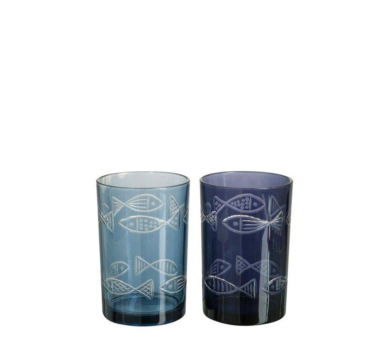 HURRICANE FISH GLASS ASSORTED BLUE (M)
