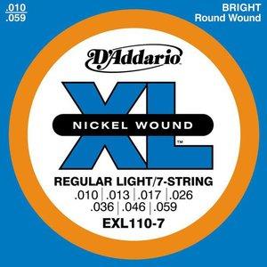 D'Addario EXL110-7 Snaren Nickel Wound Regular Light 7-String