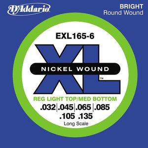 D'Addario EXL165-6 Snaren Nickel Wound Reg Light Top/Med BTM
