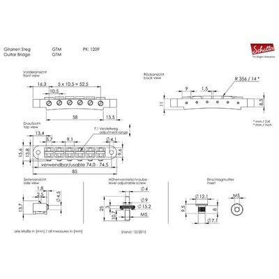 Schaller 12090200 GTM Tune-o-matic Brug Chrome