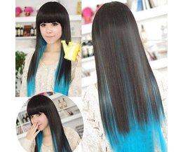 Peluca larga negro y azul Cosplay