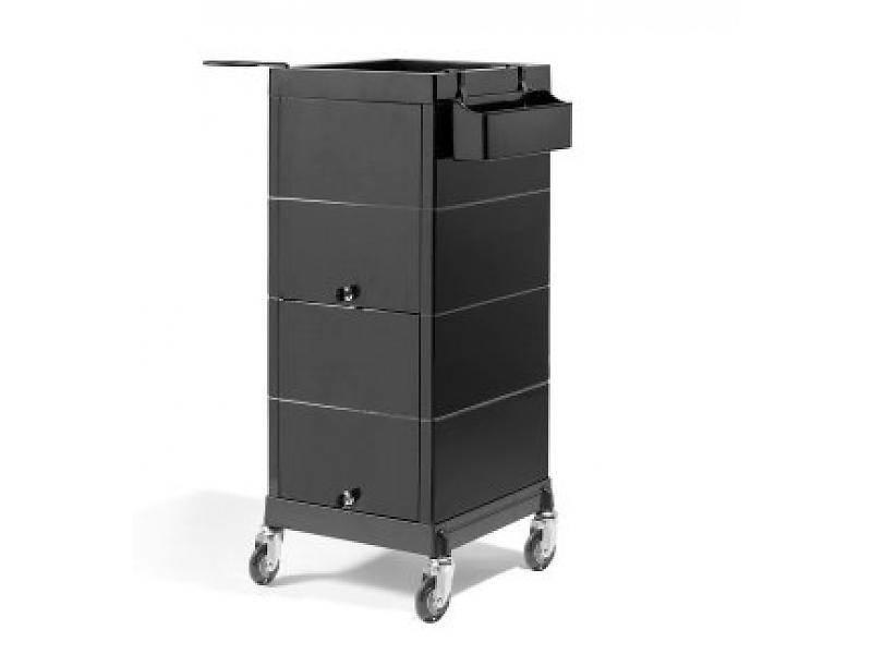 Werkwagen sibel discrete lock zwart met rubberen wielen for Kappers werkwagen