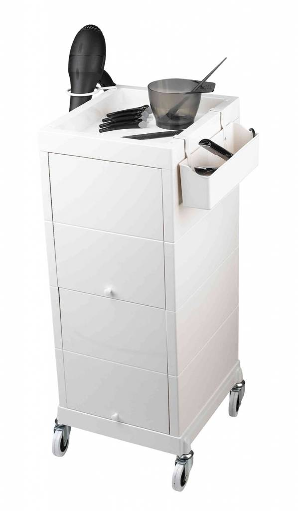 Werkwagen sibel discrete wit voor kappersmaterialen for Werkwagen kapsalon