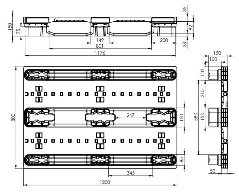 Plastic EURO Pallet 1200x800x150 Nesting Skids Heavy Duty Nestable Open Deck