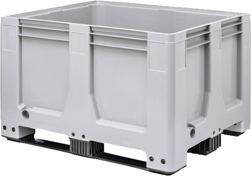 Maxilog® Pallet boxes 1200x1000x760 closed walls and bottom, 3 runners, 610 Liter