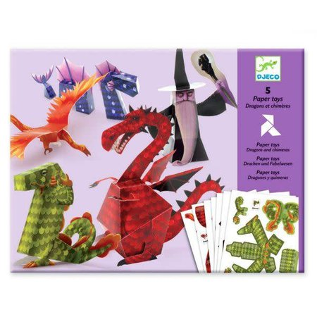 Djeco 5 Paper Toys: Dragons & Chimeras