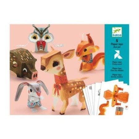 Djeco 5 Paper Toys: Pretty Wood