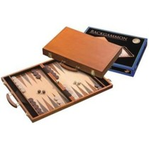 Backgammon Koffer Berkenhout ingelegd 46x30 cm.