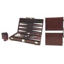 Backgammon Koffer 38 cm bruin/wit/bruin