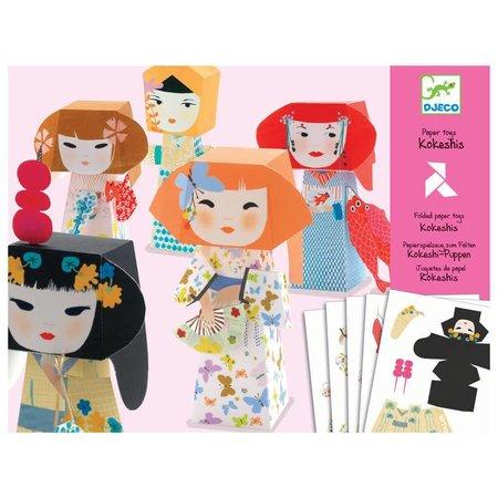 Djeco 5 Paper Toys: Kokeshis