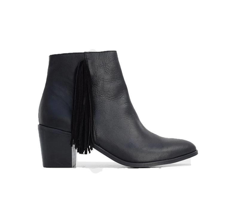 Black ankleboot Rosie with fringes