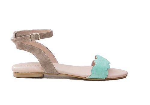 Sandal Elin - coral green/beige