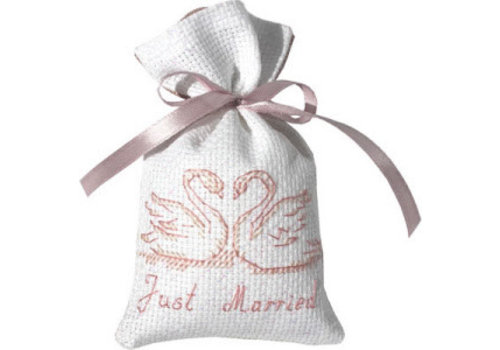 Luca-S Cross Stitch Bag - Just Married Swans