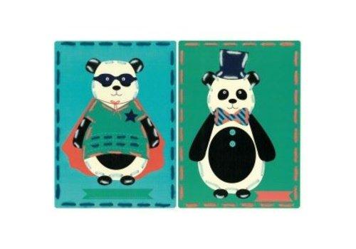 Vervaco Borduurkaarten Panda en Panda