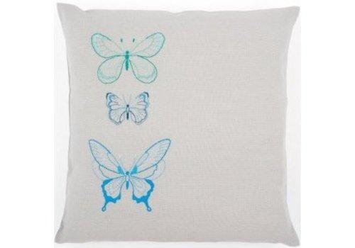Vervaco Borduurkussen 3 Vlinders in blauwe tinten