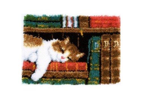 Vervaco Knoopkleedje: Slapende kat in boekenrek