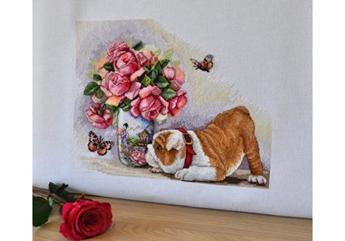 Merejka Borduurpakket Bulldog and Butterflies - Merejka