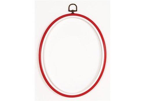 Vervaco Lijst/borduurring 12 x 17 cm ovaal  - rood