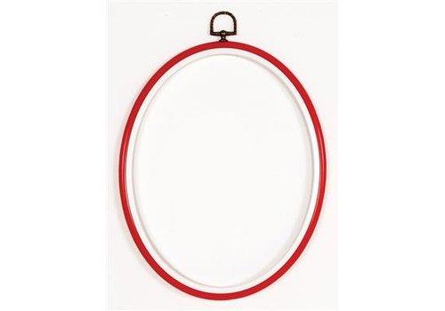 Vervaco Lijst/borduurring 10 x 14 cm ovaal - rood