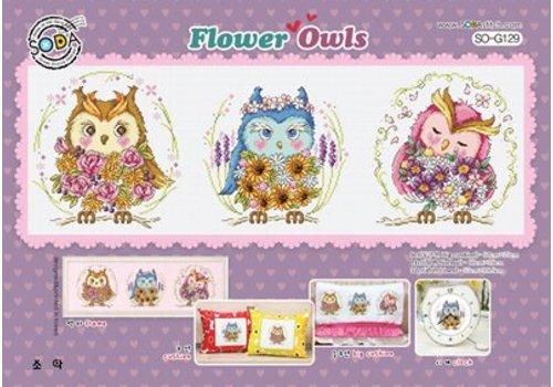 Soda Stitch Flower Owls