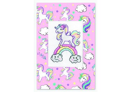 Luca-S Borduurpakket Postcard Unicorn Rainbow