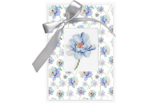 Luca-S Borduurpakket Postcard Blauwe Bloem
