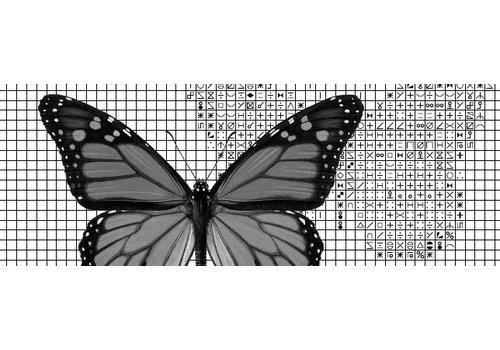 Papilion Papilion patroon 1 - zwart-wit - 24 x 36 cm