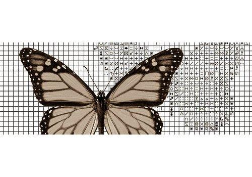 Papilion Papilion patroon 2 - sepia - 36 x 48 cm