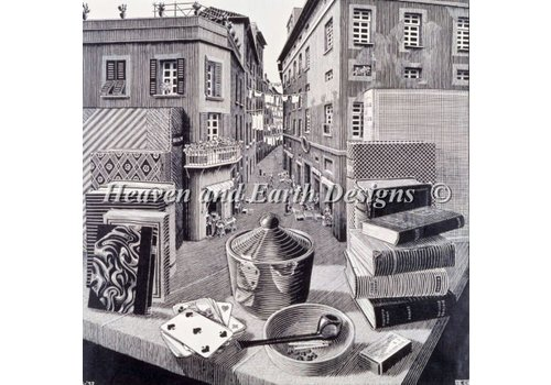 Heaven and Earth Designs  M.C. Escher: Still Life and Street