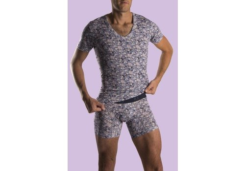 RJ Bodywear RJ Bodywear T-Shirt Met Diepe V-Hals Stretch Blok