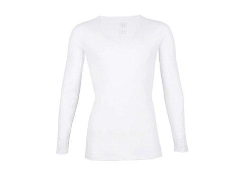 RJ Bodywear RJ Bodywear Heren Diepe V-Hals Shirt Lange Mouw Wit