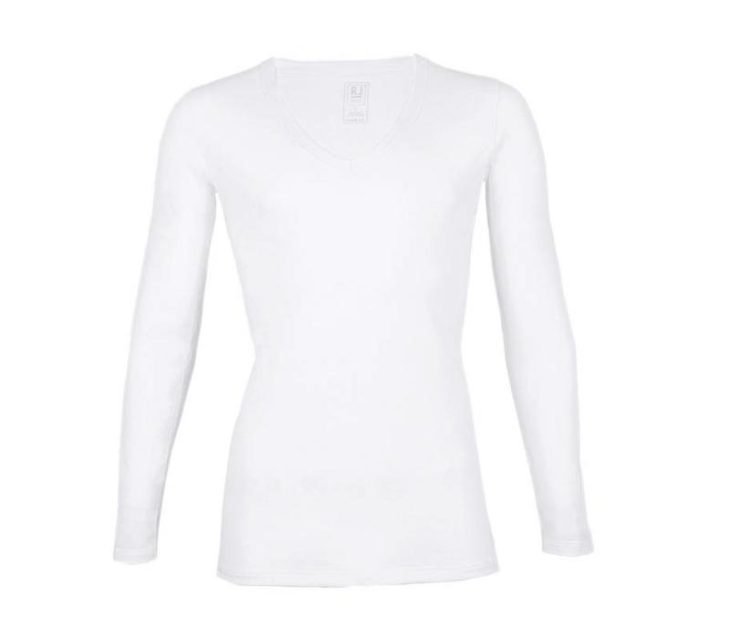 RJ Bodywear Heren Diepe V-Hals Shirt Lange Mouw Wit