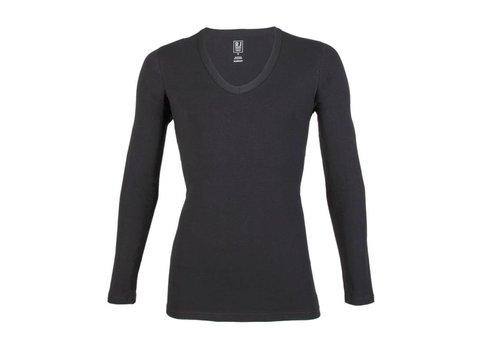 RJ Bodywear RJ Bodywear Heren Diepe V-Hals Shirt Lange Mouw Zwart