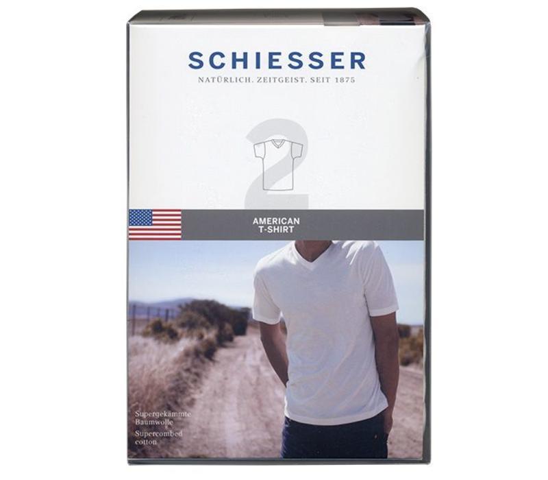 Schiesser T-shirt V-hals 2-pack