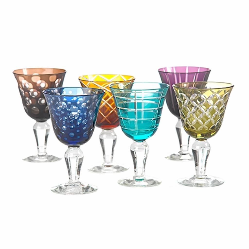 Wijnglazen Multicolour set van 6