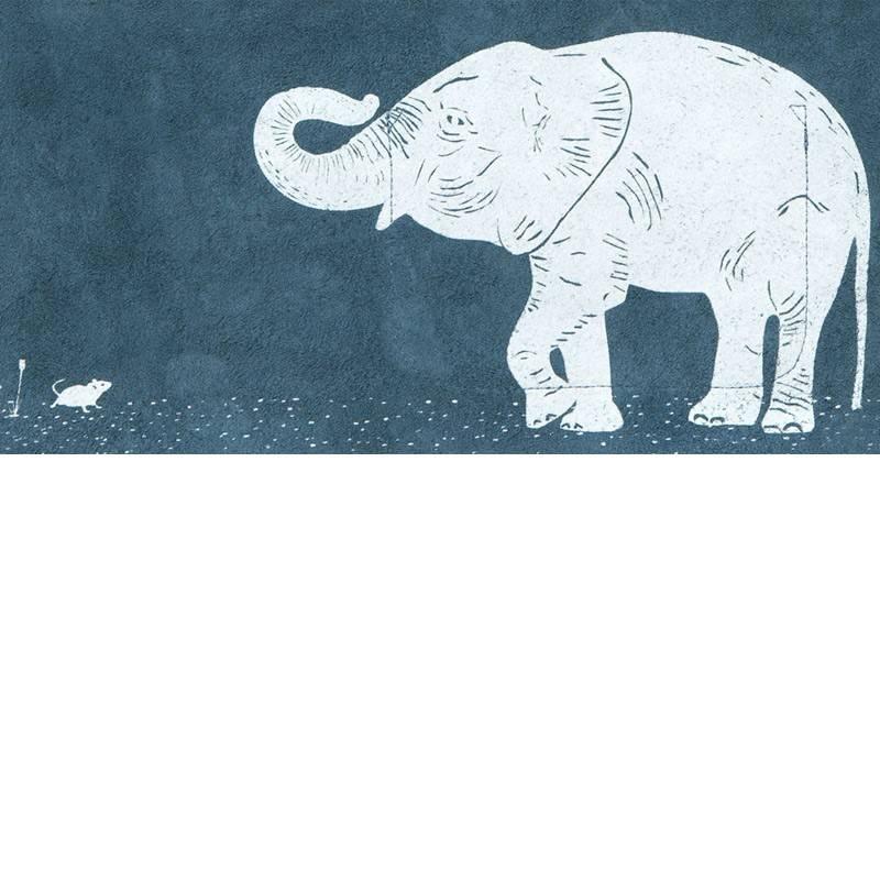 Tas Elephant Joke Faded Blue