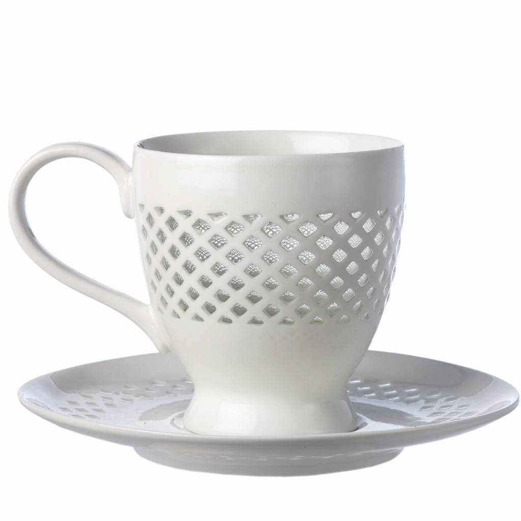 Cups And Saucers Pierced Set of 4