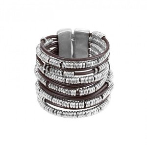 UNOde50 UNOde50 Armband | WARNING | Zilver | Leer | Breed