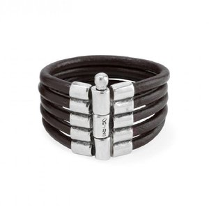 UNOde50 UNOde50 Armband | KNOCK ON WOOD | Zilver | Leer | Stoer