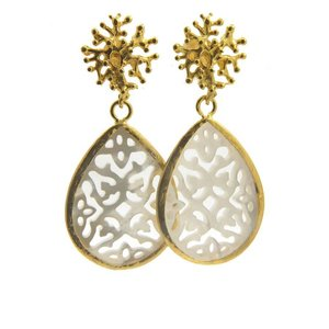 LILLY LILLY Oorbellen - Treestud Pearl S Gold | White | 18 Karaats